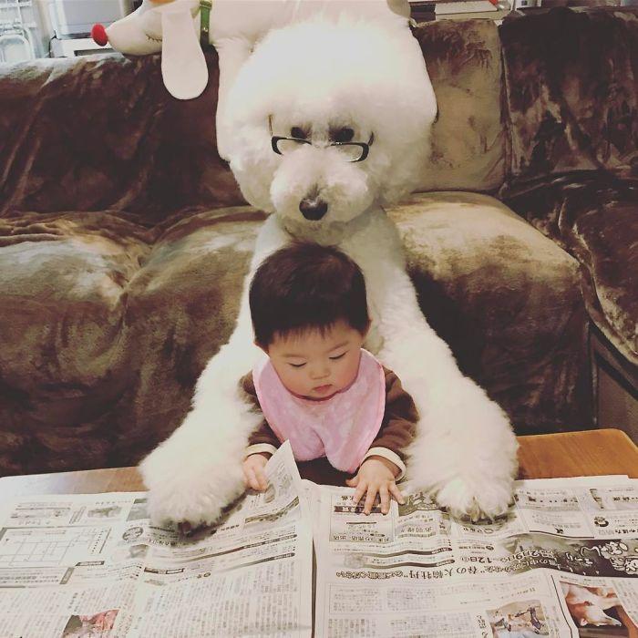 La amistad entre una niña y un caniche gigante
